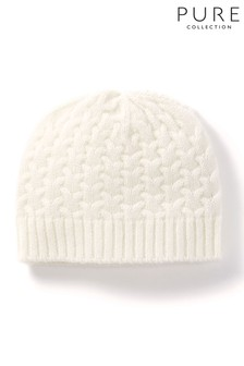 Gorro de bebé blanco de punto de ochos de cachemir de Pure Collection