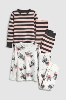 Lot de deux pyjamas douillets à motifs cygne/rayures (3-16 ans)