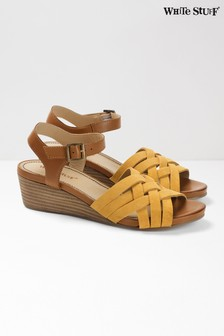 White Stuff Yellow Carrie Mid Heel Comfort Wedge