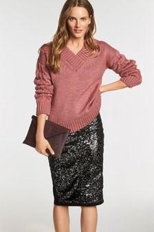 Джинсовая юбка с пайетками спереди