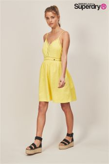 Superdry Yellow Cotton Tie Back Dress