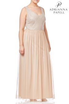 Adrianna Papell Cream Plus Beaded Long Dress