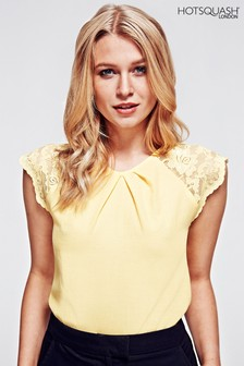 HotSquash Yellow Lace Sleeved Crepe Top