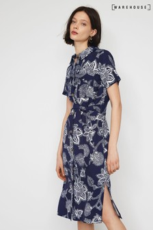 Warehouse Black Balinese Floral Shirt Dress