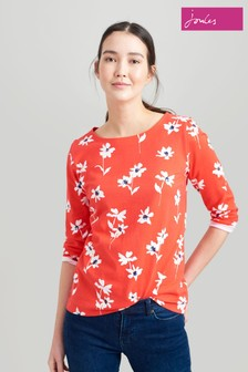 Joules Red Harbour Print Jersey Top