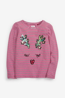 Sequin Reindeer Christmas Long Sleeve T-Shirt (3-16yrs)