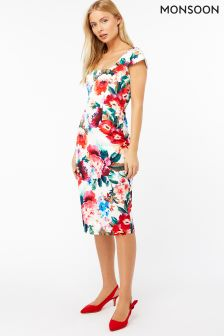 Monsoon Cream Emilia Print Dress