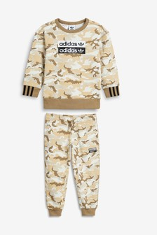 adidas Originals Little Kids Camo Crew And Joggers Set