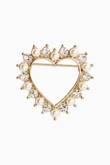 Pearl Effect Heart Brooch