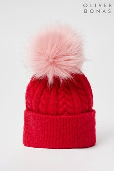 Oliver Bonas Cable Knit & Pom Red Beanie Hat