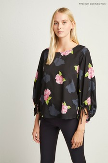 French Connection Black Floral Puff Sleeve Top