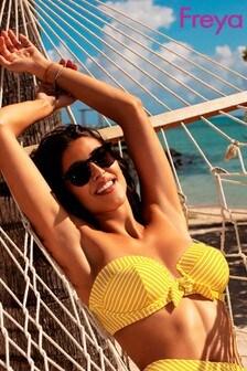 Freya Yellow Stripe Beach Hut Padded Bandeau Bikini Top