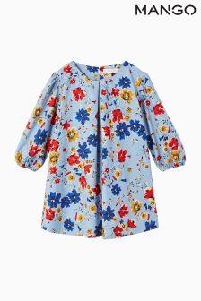 Mango Kids Light Blue Floral Dress