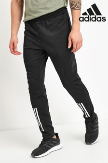 adidas Black Warm 3 Stripe Joggers