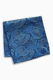Paisley Pattern Pocket Square And Lapel Pin Set