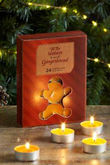 24 Pack Gingerbread Tea Light Candles