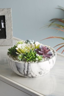 Artificial Succulents In Marble Effect Bowl