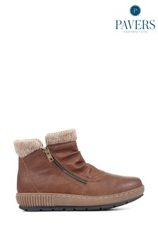 Pavers Tan Ladies Wedge Ankle Boots