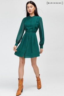 Warehouse Pleat Front Mini Shirt Dress