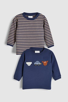 Crochet Animal And Stripe T-Shirt Two Pack (0mths-2yrs)
