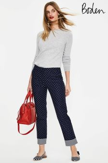 Boden Navy Spot Small Richmond 7/8 Trouser