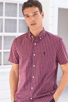 Popelinowa koszula z krótkim rękawem w kratę