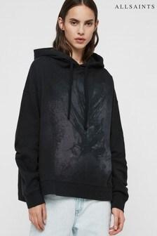AllSaints Black Feather Print Oversized Hoody