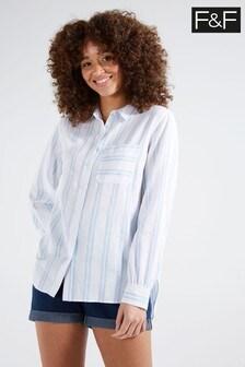 F&F White Long Sleeve Linen Wide Stripe Shirt