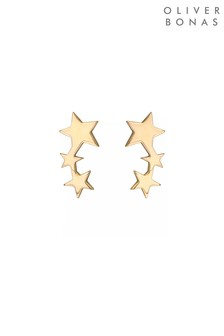 Oliver Bonas Gold Plated Brass Naos Trio Star Creeper Earrings
