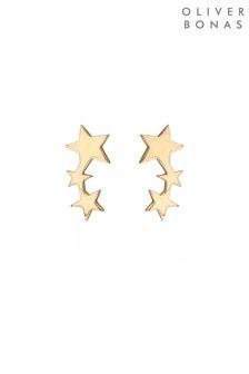 Oliver Bonas Gold Tone Naos Trio Star Creeper Earrings