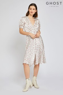 Ghost London Cream Sabrina Cream Floral Print Satin Dress