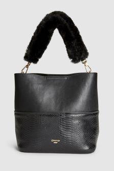 Dune Black Dixiee Croc Effect Faux Fur Handle Buckle Bag