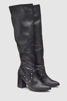 Stud Detail Knee High Boots