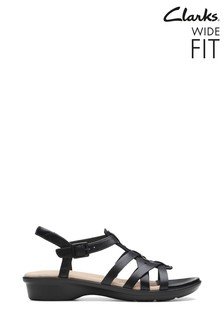 Clarks Wide Fit Black Loomis Katey Sandal