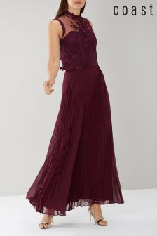 Coast Burgundy Imi Pleated Maxi Skirt