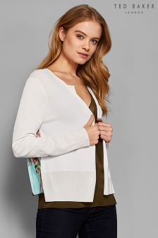 Ted Baker Ferliss White Cardigan With Pleat Bird Print Back