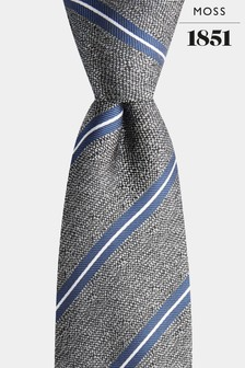 Moss 1851 Grey/White Striped Tie
