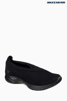 Skechers® Black You Luxe Asymmetrical Cross Slip-On