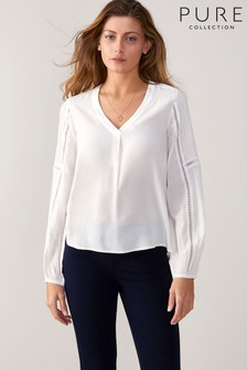 Pure Collection White Pintuck Lace Trim Blouse