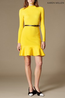Karen Millen Yellow Belted Fit And Flare Knit Dress