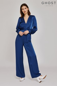 Ghost London Blue Poppy Airforce Blue Satin Jumpsuit