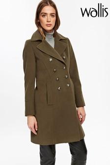 Wallis Khaki Faux Wool Military Coat
