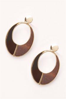 Wood Effect Drop Earrings