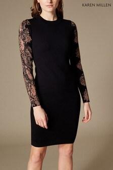 Karen Millen Black/Multi Snake Jacquard Knit Dress