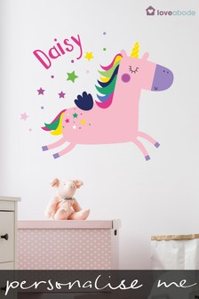 Personalised Unicorn Wall Sticker by Loveabode