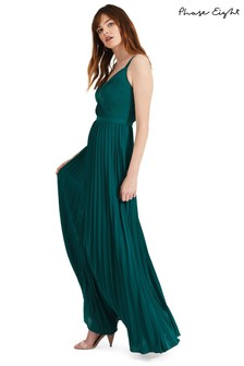 Phase Eight Green Giovanna Pleated Maxi Bridesmaid Dress