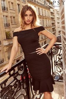 Платье с оборкой на подоле и поясом Lipsy