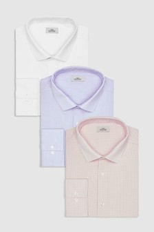 Check And Textured Shirts Three Pack