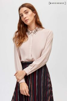 Warehouse Pink Embellished Collar Shirt