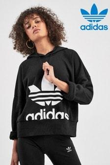 adidas Originals Black Trefoil Cropped Hoody